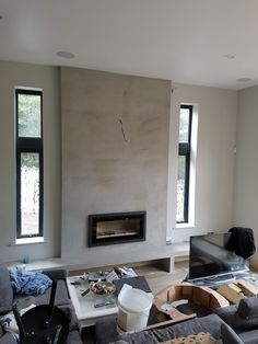 Studio 2 inset built into fireboard recess and shelf