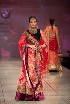Tarun Tahiliani Collection Red, Gold & Wine Embroidered #Lehenga With Black #Blouse At IBFW 2014.