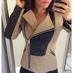 Stylish Turn-Down Collar Long Sleeve Color Block Slimming Women's Jacket