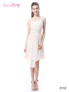 Charming One Shoulder High Low Lace Chiffon Cocktail Dress