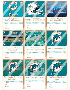 Miami Dolphins Valentines Day Cards Sheet #1 (instant download or printed)