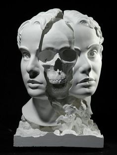 "littlelimpstiff14u2: "" Thought-Provoking Sculpture of Split Head Reveals a Hauntingly Surreal Skull Within Working primarily in plaster, Japanese artist Taiji Taomote produces surreal sculptures..."