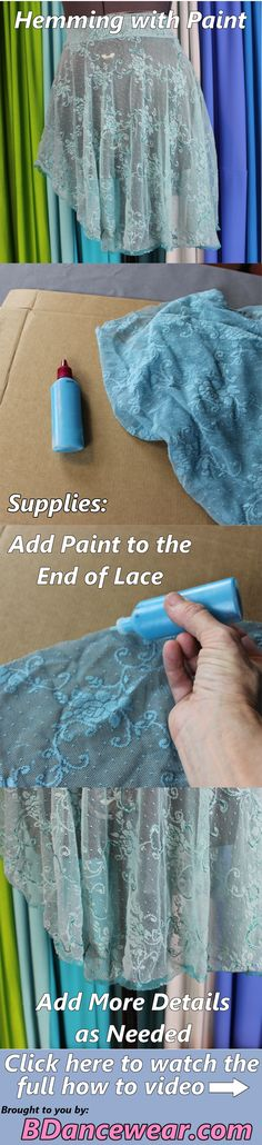 How to hem with paint for a dance costume.