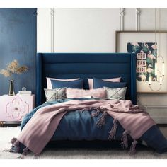 Blue And Gold Bedroom, Navy Blue Bedrooms, Blue Master Bedroom, Blue Bedroom Decor, Room Ideas Bedroom, Blue Rooms, Navy Blue Bedding, Teen Bedroom, Jewel Tone Bedroom