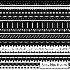 Free – Fancy edge brushes  Set of 25 Photoshop brushes are all just over 1000 pixels wide. Great for adding interest to  invites,  stationery, web headers and banners, or creating scrapbook frames and elements.