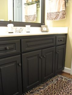 Kitchen and bathroom cabinets DIY  http://southernhospitalityblog.com/painting-laminate-cabinets/
