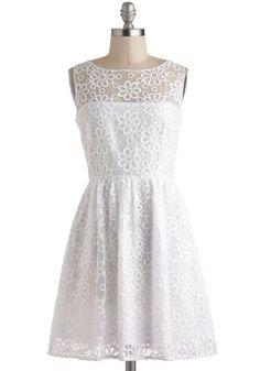 RSV Pretty Dress by BB Dakota - Solid, Vintage Inspired, Sleeveless, Spring, White, Embroidery, Daytime Party, A-line, Wedding