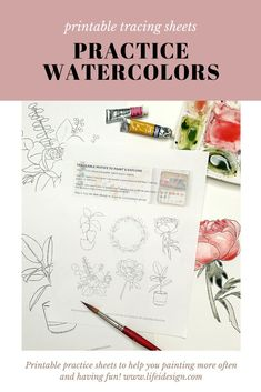 Never run out of ideas of what to paint using your watercolors with this new digital ebook.Paint with Me invites you to print, trace and paint fun and simple botanicals, house plants and florals that will have you practicing your new watercolor skills like a pro! Learn Watercolor Painting, Watercolor Beginner, Watercolor Kit, Tracing Sheets, Online Painting, Learn To Paint, Transfer Paper, Printables, Private Facebook
