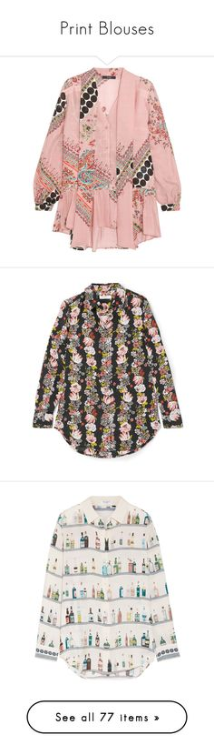 """""""Print Blouses"""" by fjonsen ❤ liked on Polyvore featuring tops, blouses, pink silk blouse, pink silk top, silk blouse, silk top, pink pussy bow blouse, black, floral shirt and floral print tops"""