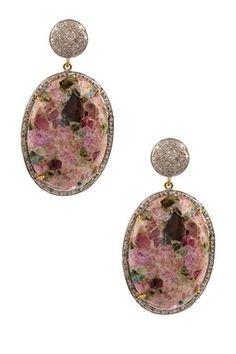 Tourmaline Oval Cabochon Diamond Earrings
