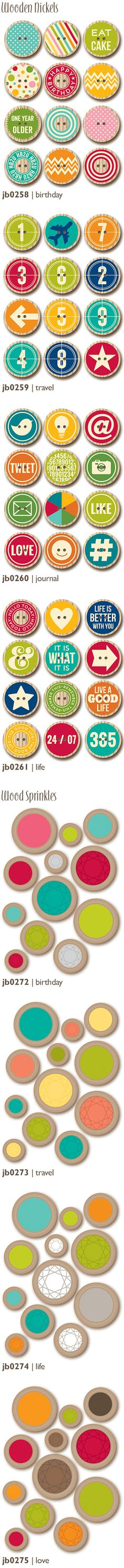 Wood Nickels & Wood Sprinkles! Brand New Jillibean Soup Embellishments from CHA Winter 2014 via Jillibean Soup blog