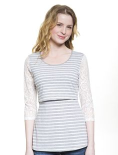 Trendy lace-sleeved nursing top