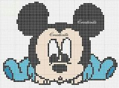 C2c Crochet, Crochet Chart, Baby Blanket Crochet, Crochet Patterns, Cross Stitch For Kids, Cross Stitch Charts, Cross Stitch Patterns, Mickey Mouse Characters, 3d Perler Bead