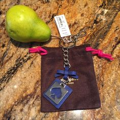 "Kate Spade Blue Leather Spade Keychain Holder Fob NWT. Made of Leather and Metal Approx. 5"" x 1 3/4"" including charm. Gold Tone Hardware. Dust bag included. No trades. kate spade Accessories Key & Card Holders"
