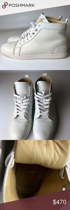 """Louboutin Louis Men's Flat High Sneakers Euro 42 Very good condition. Light signs of wear on insoles and rubber soles.  Thin scuff on the side of one sneaker (please refer to pictures). Come with dust bag only, no other package left. No receipt is kept.  Insole is 11""""  Please note, that European designer shoes typically run smaller then US designers.  You should know your size in the particular designer's shoes before making a purchase. Christian Louboutin Shoes Athletic Shoes"""