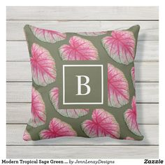 Modern Tropical Sage Green Red Pattern Outdoor Pillow Create Your Own, Create Yourself, Modern Tropical, Red Pattern, Outdoor Throw Pillows, Favorite Color, Sage, Plush, Green