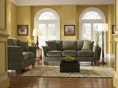 Living Room | OLIVE GREEN COUCH... Not our couch but in search of ...