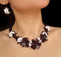 Statement necklace with polymer clay flowers Violet by morecolors