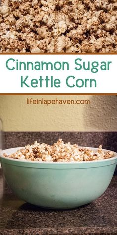 Cinnamon Sugar Kettle Corn - Life in Lape Haven: A quick, easy, fairly healthy, and most importantly, delicious popcorn recipe using coconut oil and a Whirly-Pop stovetop popper. Popcorn Snacks, Flavored Popcorn, Gourmet Popcorn, Pop Popcorn, Sweet Popcorn Recipes, Popcorn Toppings, Healthy Popcorn, Korn, Whirley Pop Recipes