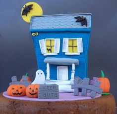 Halloween Fondant Cake Topper Blue Haunted House Under the Moon with Bats,Fence and Signs by allsugarheart on Etsy