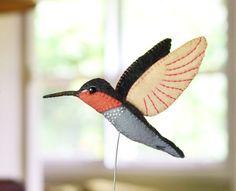 Valentine Gift Bird felt sculpture Hummingbird by FantailsAndFeet