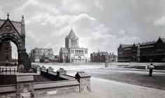 An animated comparison of Boston's Copley Square as seen in 1888, and again 127 years later, in 2015. The central building in both images is Trinity Church, which was completed in 1877. The dark-colored building at right in the 1888 image was<span> the original Museum of Fine Arts building, opened in 1876. In the 2015 image, the skyscraper that reaches offscreen at upper right is the John Hancock Tower, the tallest building in </span>New England, built in<span> 1976.</span>