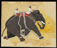 Style: Rajasthani; Type: Elephants and hunts; Title: 'Elephant at a gallop'…