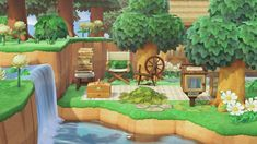 Coco's reading & sewing nook, tucked between the river & trees. 🌿 : AnimalCrossing Animal Crossing Guide, Animal Crossing Villagers, Animal Crossing Pocket Camp, Animal Games, My Animal, Sewing Nook, Ac New Leaf, Island Theme, Motifs Animal