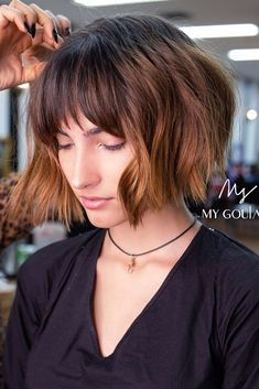 Short Bob With Bangs ❤ Short hairstyles for thick hair don't have to be boring. A cute hairstyle like the ones pictured here can help add texture and life to your thick tresses. Very Short Bangs, Short Haircuts With Bangs, Short Hairstyles For Thick Hair, Bobs For Thin Hair, Wavy Hair, Short Hair Cuts, New Hair, Bob Haircuts, Hairstyles Haircuts