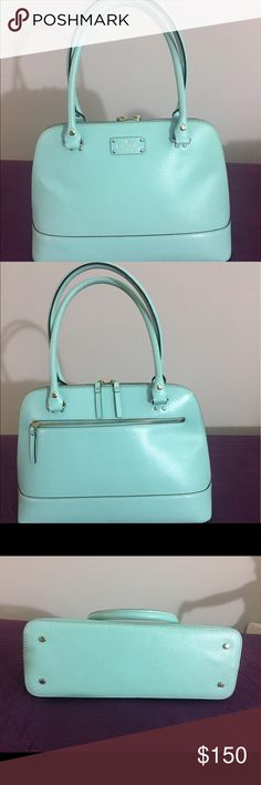 Kate Spade Rachelle - Robin Eggs blue - FIRM This is the largest size, and is over the shoulder bag. EUC. No stains or cracks inside or outside. No odour. Feet hardware has minor hairline cracks. But rest everything impeccably clean. Smoke & Pet free home. Matching wallet available in closet. kate spade Bags Shoulder Bags