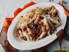 Garganelli cremosi alle olive taggiasche e prosciutto croccante  #ricette #food #recipes