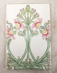 """Art Nouveau Tile by Providential Tile Works, size 9"""" x 6"""", weight 1.8 Lb. The company was in business from 1885 to 1913."""