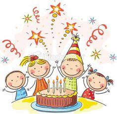 Buy Kids Birthday Party by katya_dav on GraphicRiver. Kids birthday party with a big cake Art Drawings For Kids, Drawing For Kids, Easy Drawings, Art For Kids, Happy B Day, Happy Kids, Birthday Greetings, Birthday Wishes, Birthday Parties