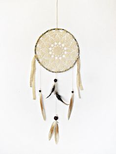 Dreamcatcher, woodland mandala, crochet doily, wall decoration, cream, brown, crochet dreamcatcher, wall hanging, boho, large, bedroom