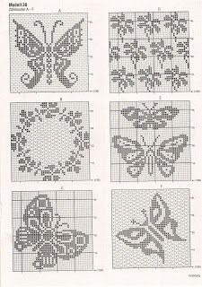 ) I theses 4 Filet crochet.Butterflies for a Jacquard\/embroideryCrochet Curtains Archives - Beautiful Crochet Patterns and Knitting Designs of Butterflies & FlowersThis Pin was discovered by Gal Filet Crochet Charts, Crochet Motifs, Crochet Diagram, Knitting Charts, Thread Crochet, Crochet Stitches, Knitting Patterns, Crochet Patterns, Cross Stitching