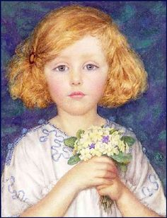 There's something about this picture that makes me love it! | Young Girl With Primroses by Margaret W. Tarrant