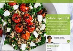 Je vous transmets aujourd'hui ma formule magique pour des salades repas réussies à tous les coups!On n'oublie surtout pas l'assaisonnement–essentiel!–,pour apporter de la saveur, et de balancer sa salade avec une vinaigrette suffisamment acide qui réveille les papilles et apporte du kick