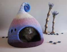 Cat cave, Cat house, Pet house, Purple cat cave, Lilac white blue, Nordic style cat cave, Natural wool, Eco friendly, Fantasy cat cave