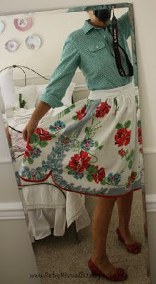 Have a vintage tablecloth laying dormant in a closet?  Do like I did and repurpose it into a summer skirt!           I trimmed off the edge...
