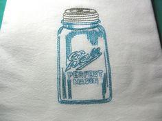 VINTAGE MASON JAR-New hand embroidered 30 X 30 flour sack dish towel