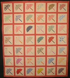 Umbrellas Quilt: Circa 1930