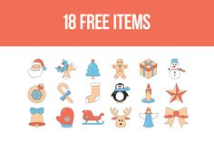 Warm up your winter night with this Free 18 Items Christmas Icon Set! These icons is here in editable Ai (Adobe Illustrator) format /Volumes/Marketing/_MOM/Design Freebies/Free Design Resources/Elena-Zhivotkova_Free-18-Items-Christmas-Icon-Set_011216.ai