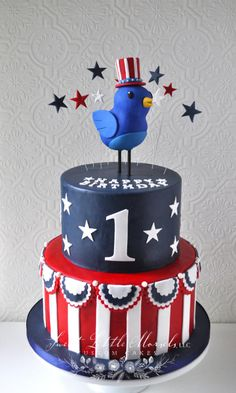 Patriotic Birthday Cake by Stephanie (Cake Design Compleanno) Beautiful Cakes, Amazing Cakes, Fourth Of July Cakes, July 4th, Cakes By Stephanie, Military Cake, 1st Birthday Cakes, Birthday Ideas, Cupcake Pictures