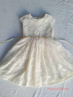 6d93fb78689 Ivory flower girl dress Lace ivory girl dress cap sleeve by