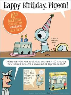 Download the free 10th birthday celebration activity kit. Party planning ideas, fun games and entertaining activities, including learning how to draw Pigeon.
