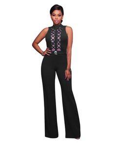51de89bd7a0f Women Golden Slim Wide Legs Geometric Jumpsuits