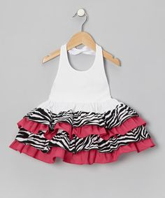 Love this Hot Pink Zebra Ruffle Halter Dress - Infant, Toddler & Girls by Bizzy Bumpkins on #zulily! #zulilyfinds