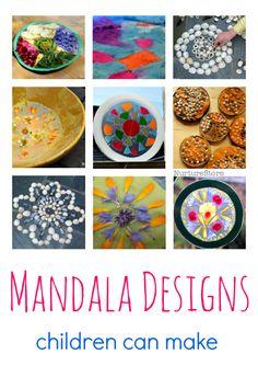Easy mandala designs children can make - mandala crafts using lots of different materials - Vesak crafts - Buddha Day activities for kids
