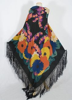 A beautiful and colorful printed silk shawl from circa 1925.