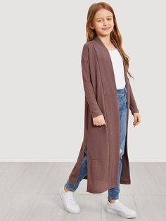 To find out about the Girls Waffle Knit Split Side Jersey Duster Coat at SHEIN, part of our latest Girls Jackets & Coats ready to shop online today! Girls Fashion Clothes, Kids Outfits Girls, Cute Girl Outfits, Teen Fashion Outfits, Kids Fashion, Casual Outfits, Fashion Coat, Girl Bottoms, Coat Dress